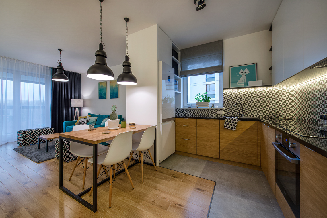 Fotograf wnętrz dla projektantów, sesja zdjęciowa mieszkania, kuchnia, jadalnia, salon.