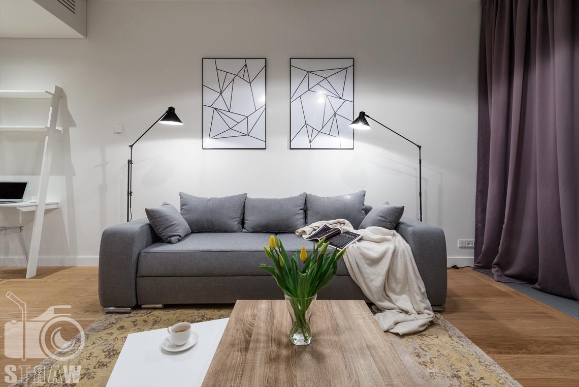 Zdjęcia wnętrz apartamentu na wynajem na zlecenie firmy Mzuri, w budynku Złota 44 w Warszawie, sofa w salonie.