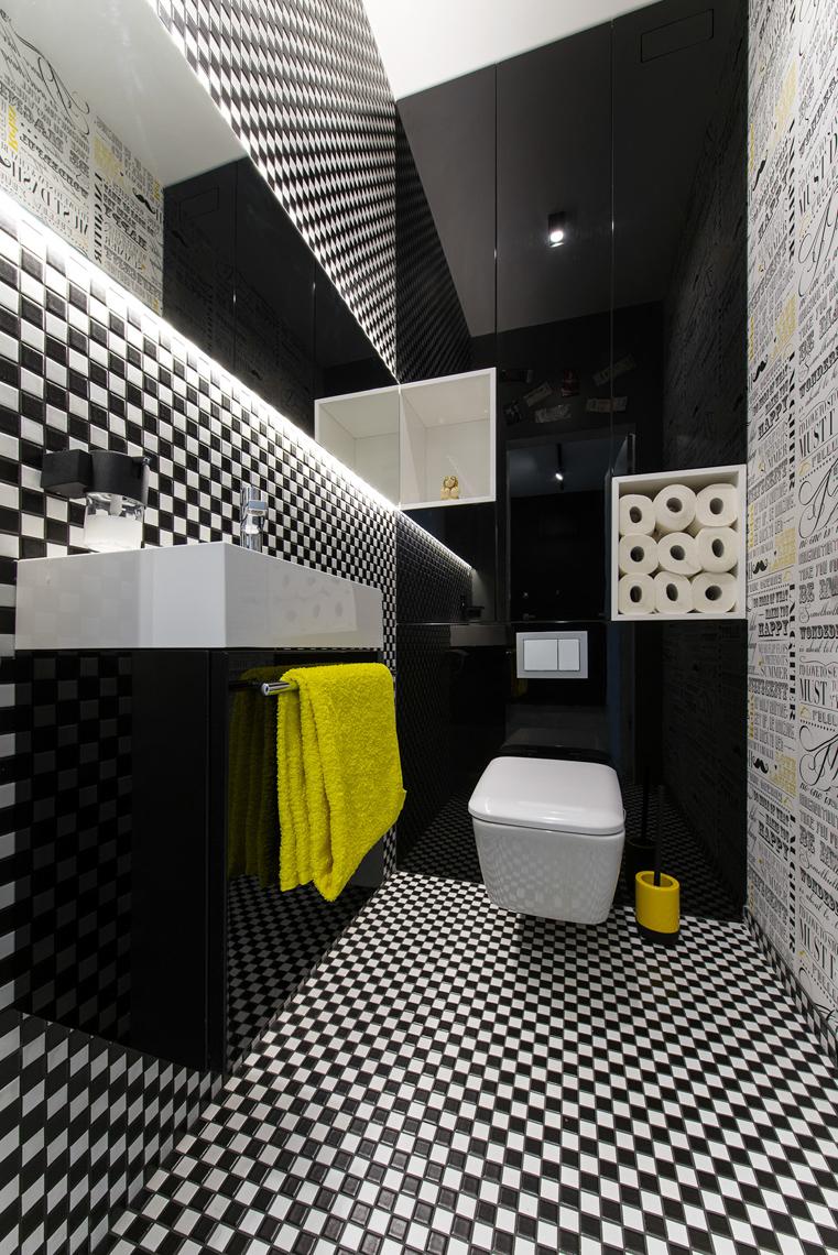 Fotografia wnętrz dla biur projektowych, sesja fotograficzna mieszkania, dla biura 4maprojekt, mała łazienka.