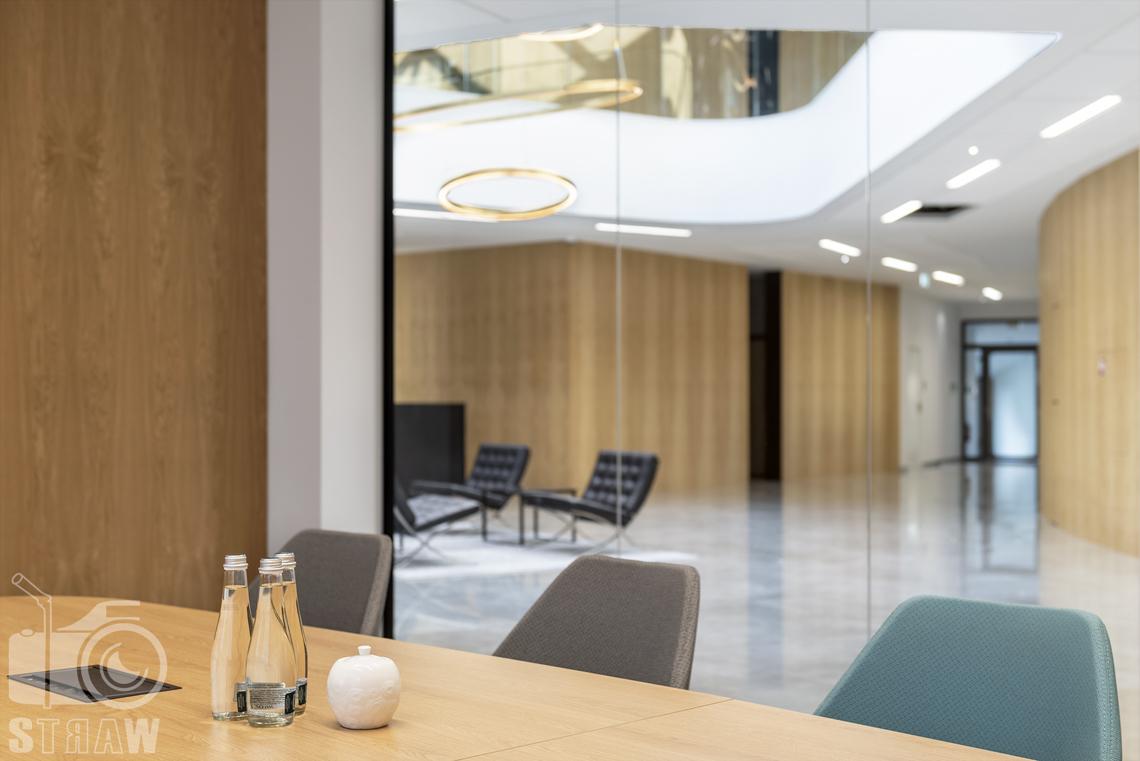 Sesja fotograficzna dla biura projektowego, zdjęcia wnętrz komercyjnych, salka konferencyjna, butelki z wodą, widok na hol.