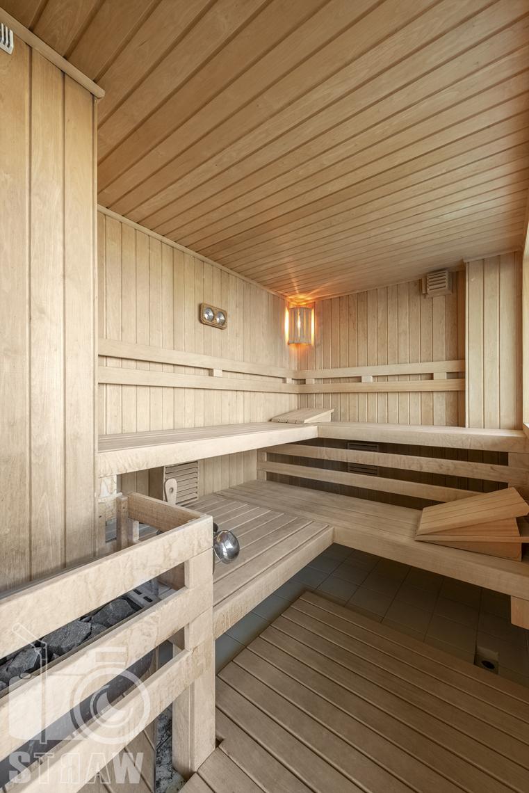 Fotografia wnętrz nieruchomości na sprzedaż, zdjęcia dla biura nieruchomości, sauna.