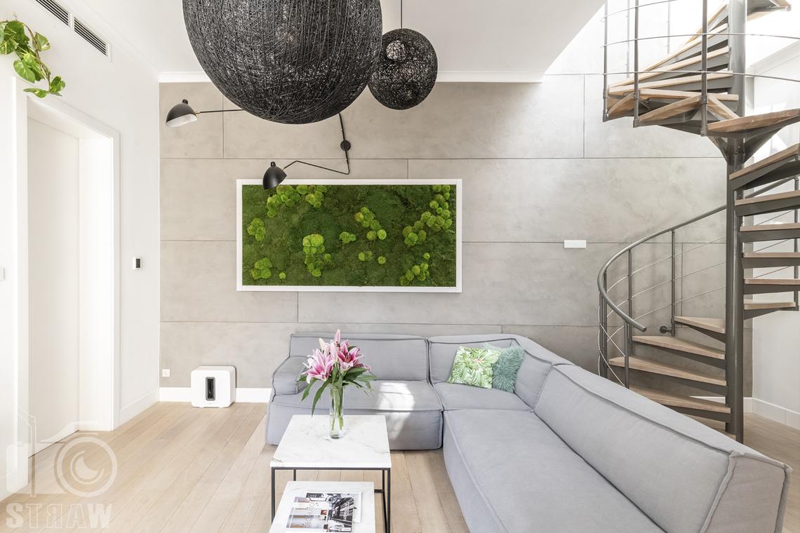 Zdjęcia mieszkania na sprzedaż w Warszawie, salon, sofa i żywy obraz z mchów.