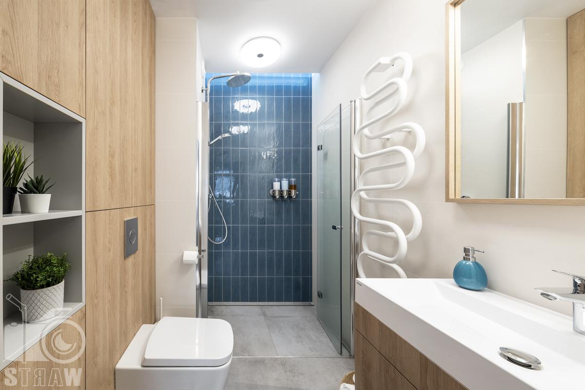 Sesje fotograficzne wnętrz dla projektantów i architektów wnętrz, łazienka, toaleta, umywalka na szawce łazienkowej, lustro, szafa nad toaletą, półki wnękowe.