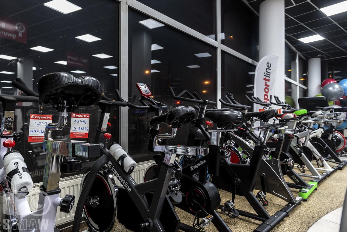 A Fotografia sklepów, zdjęcia wnętrz komercyjnych, sklep Insportline, rowerki stacjonarne.