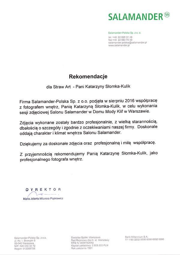Rekomendacje fotograf wnętrz komercyjnych dla Straw Art Katarzyny Słomki od Salamander Polska