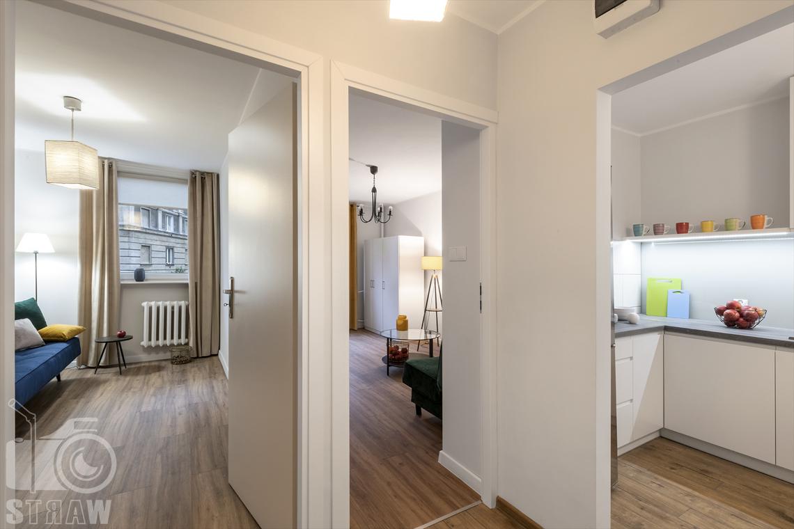 Fotografia nieruchomości na wynajem Warszawa, zdjęcie wszystkich pomieszczeń w mieszkaniu.