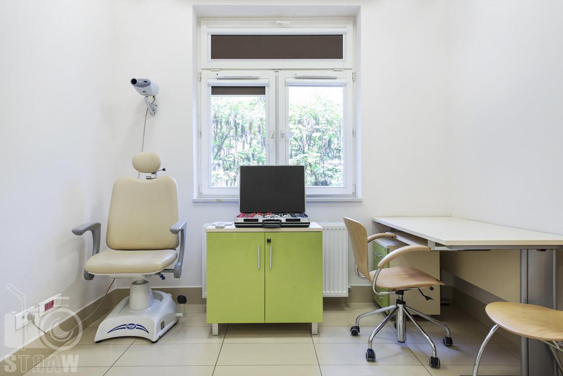 Sesja fotograficzna przychodni specjalistycznej dla zakładu opieki zdrowotnej wola-śródmieście przy ulicy Chmielnej w Warszawie, gabinet ginekologiczny.