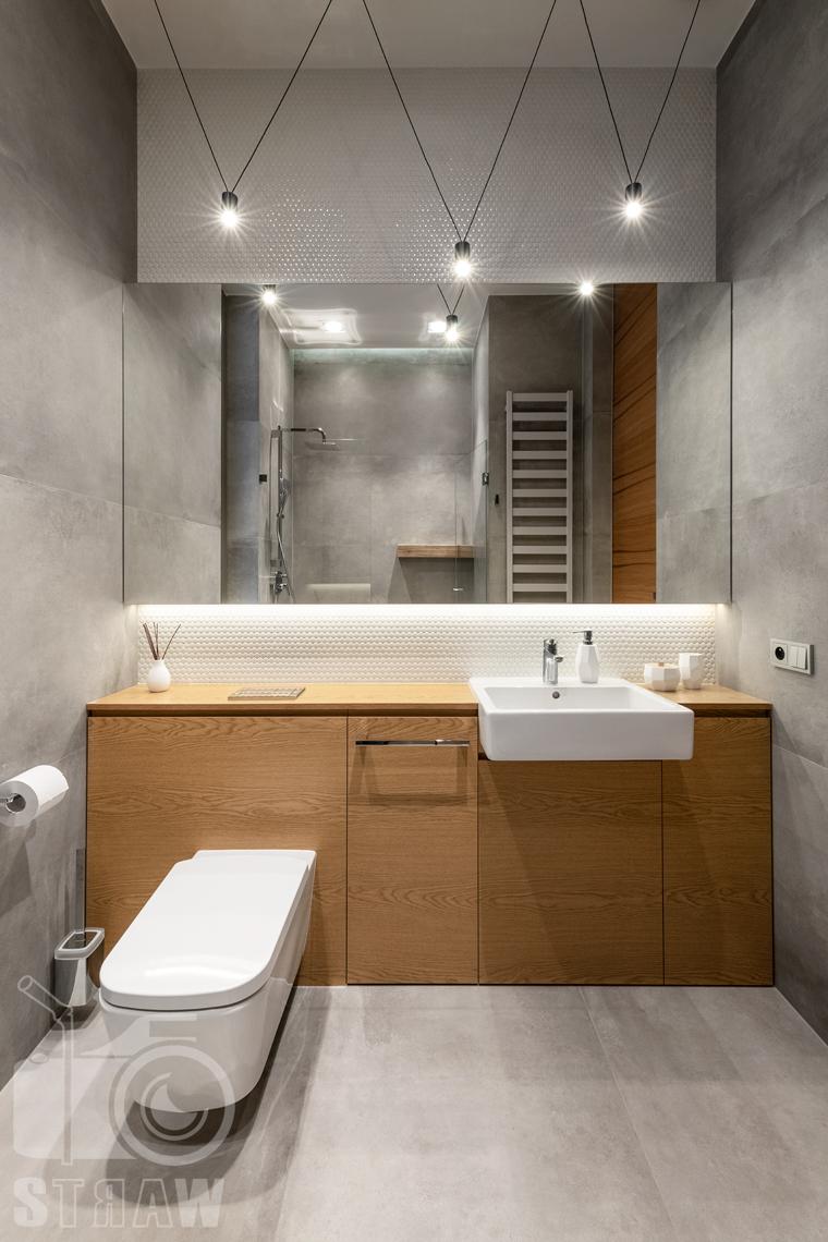 Fotografia wnętrz dla projektantów i architektów, mała łazienka gościnna z prysznicem, toaletą i umywalką oraz szafkami w drewnie.