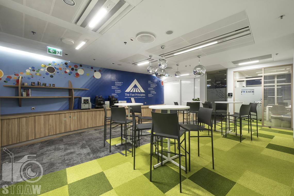 Fotografia wnętrz komercyjnych, zdjęcia biura tutaj kuchnia i kawiarnia dla pracowników.