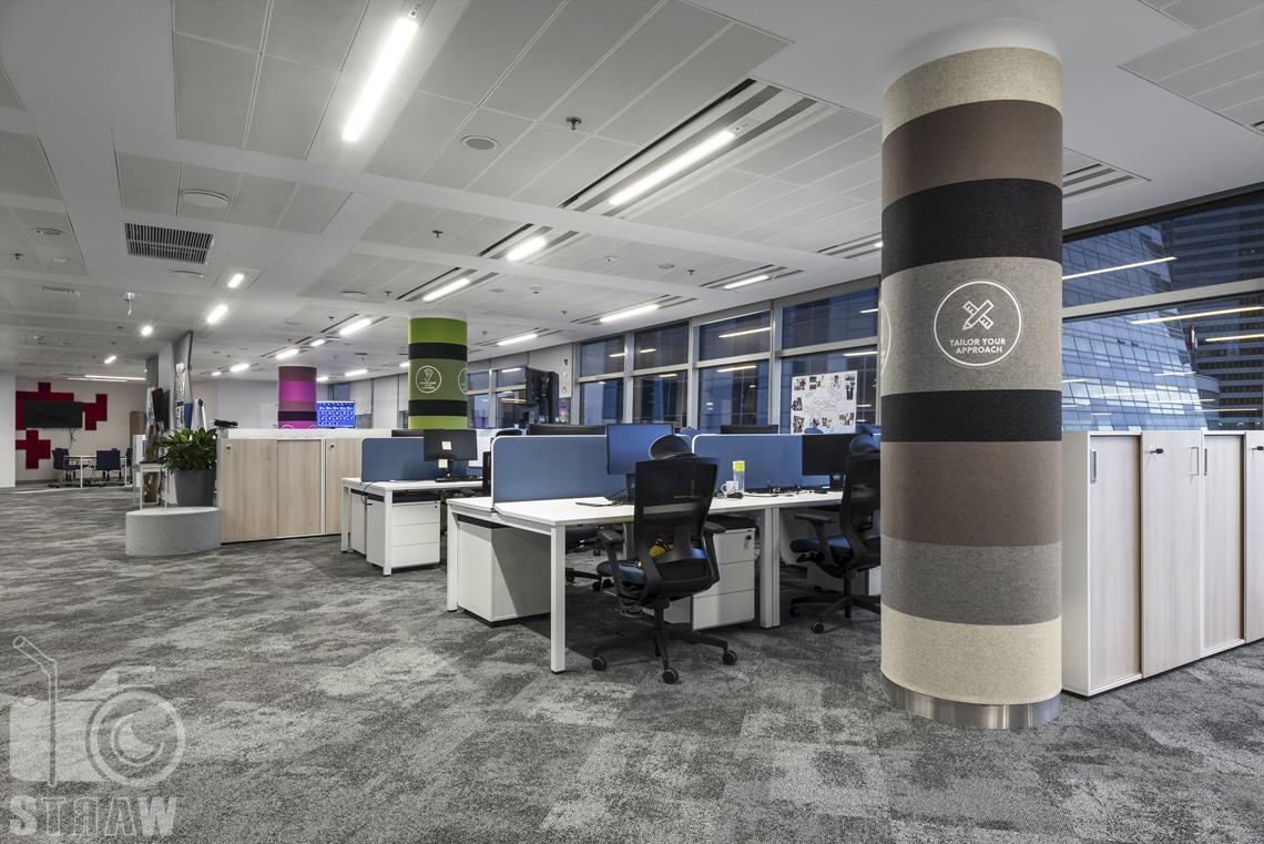 Fotografia wnętrz komercyjnych, zdjęcia biura w warszawie, na zdjęciu openspace z biurkami.