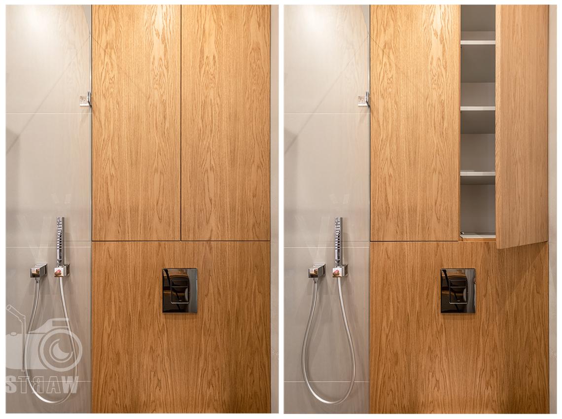 Fotografia wnętrz dla projektanta, zdjęcie szafek w łazience.