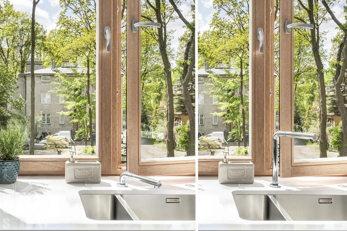Fotografia wnętrz dla projektanta, zbliżenie na detale kuchenne i wysuwany kran.