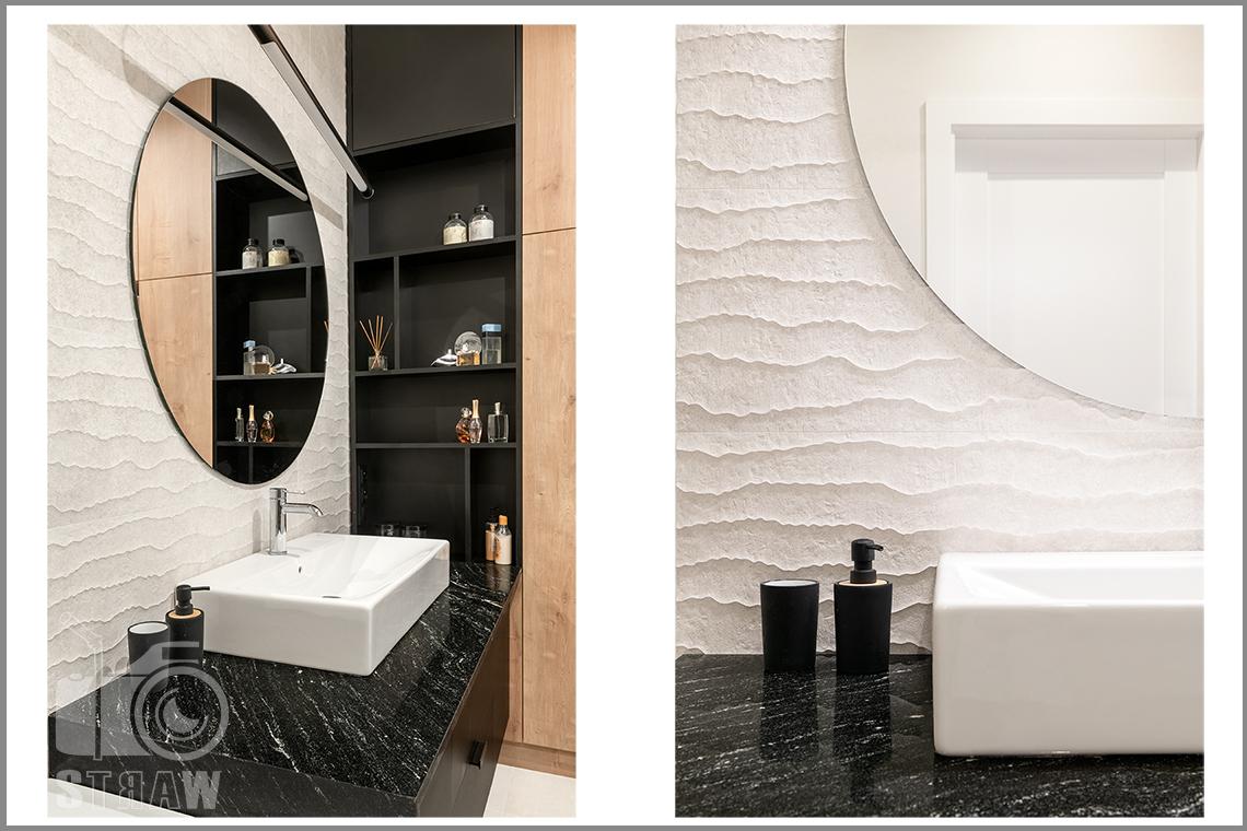 Fotografia wnętrz dla projektantów i architektów, łazienka i umywalka na szafce i detale.
