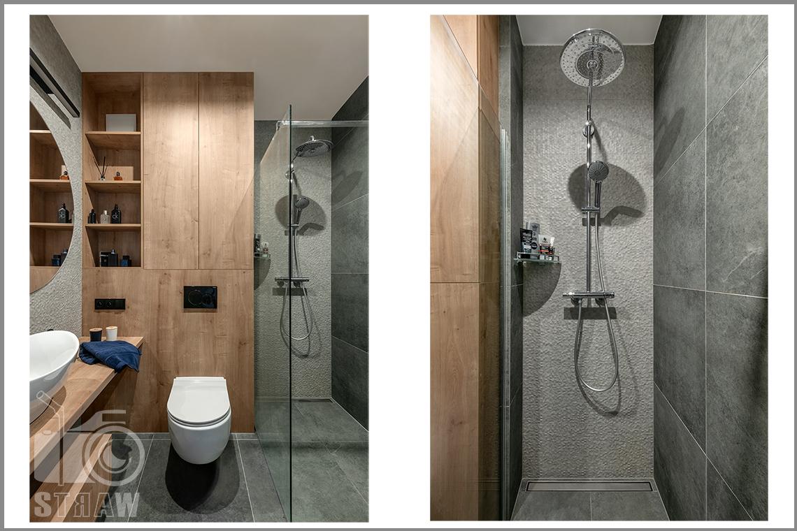 Fotografia wnętrz dla projektantów i architektów, toaleta z prysznicem i zabudową.